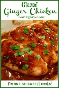 ginger chicken breasts with text overlay