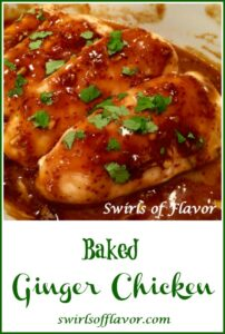 baked ginger chicken with text overlay