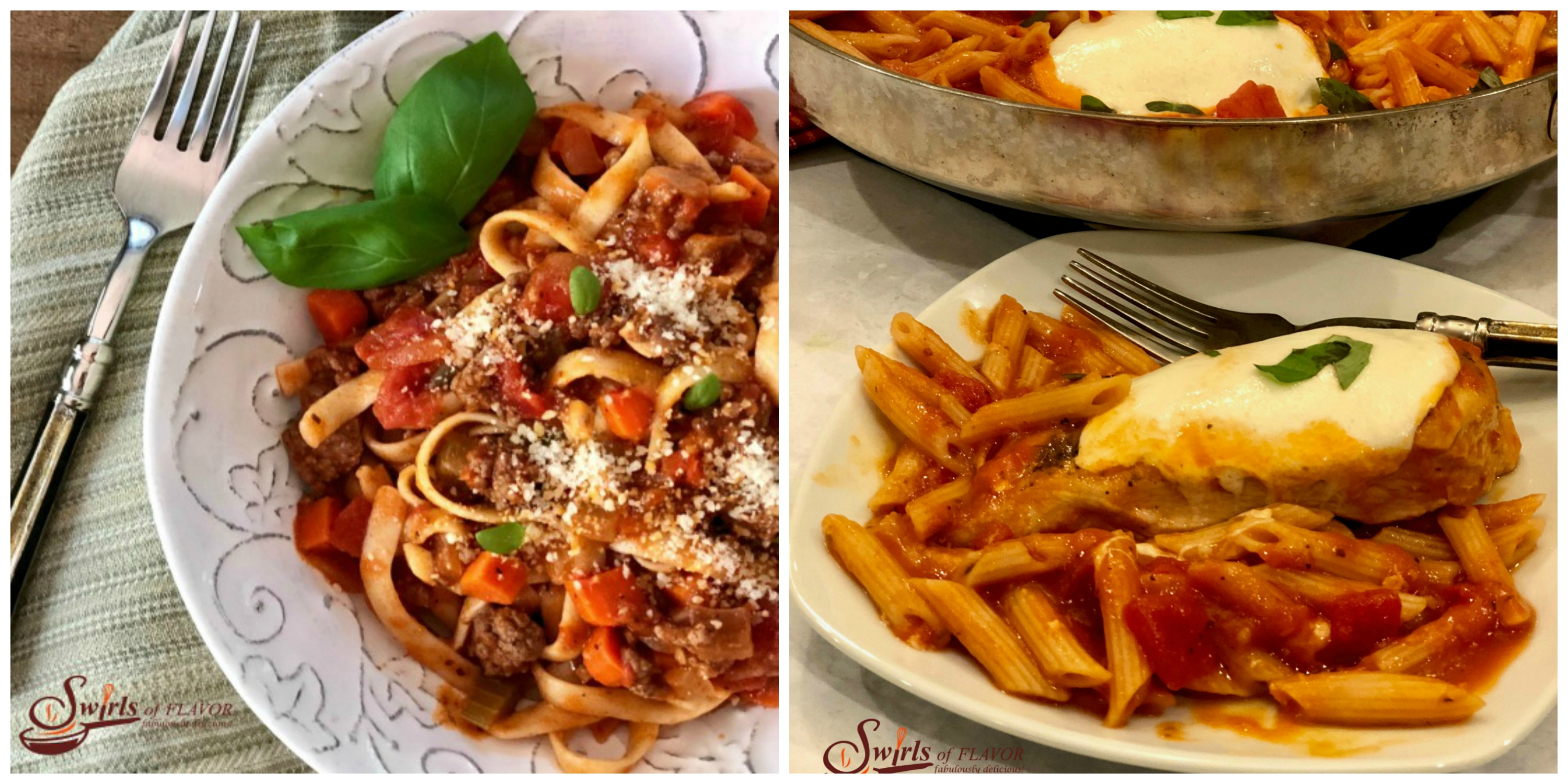 Fettuccine Bolognese and Chicken Parmesan and Pasta