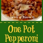The flavors of a pepperoni pizza with pasta cook together in one pot for a fabulously delicious and easy One Pot Pepperoni Pizza Pasta dinner! recipe | dinner | easy | Pepperoni | pizza | pasta | weeknight dinner | fun for kids