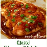 glazed chicken breasts with text overlay