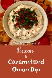 Sweet tender caramelized onions and crispy bacon flavor this homemade Bacon and Caramelized Onion Dip! A perfect recipe for your Super Bowl party and entertaining!