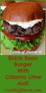 Black bean burgers perfectly seasoned with chili powder and cumin are topped with a creamy aioli bursting with the fresh flavors of cilantro and lime.Meatless Monday never tasted so good! burgers | black beans | black bean burgers | meatless | vegetarian