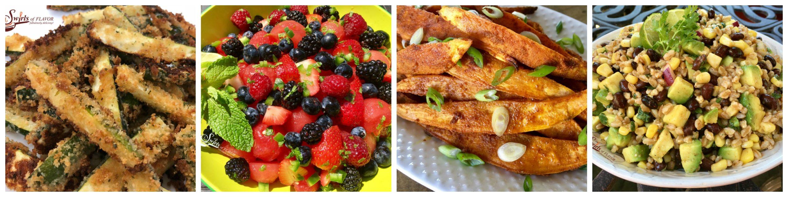 Zucchini Fries, Fruit Salad, Sweet Potato Fries and Farro Salad