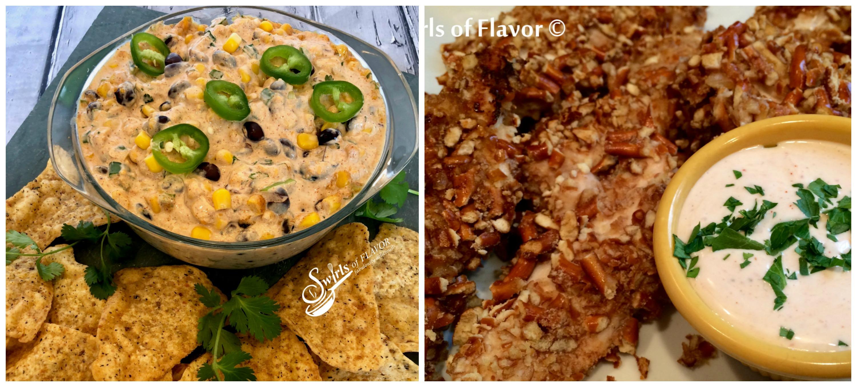 Black Bean and Corn Di and Pretzel chicken Tenders