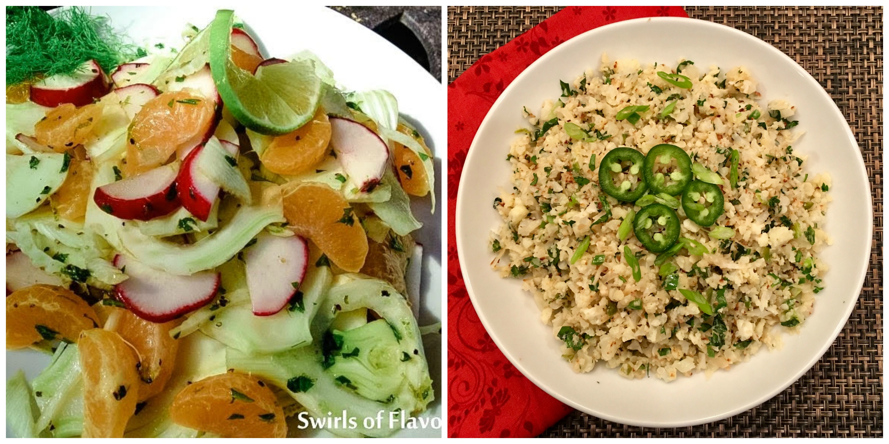 Fennel Salad and Jalapeno Lime Cauliflower Rice