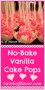 Perfect for a Valentine's Day get together or sweet dessert for the family, No-Bake Vanilla Cake Pops will definitely satisfy your sweet tooth. Store bought pound cake, canned frosting and white chocolate chips along with pink food color and cake sparkles make this no-bake recipe easy to make!