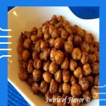 roasted chickpeas with seasonings in bowl with text overlay