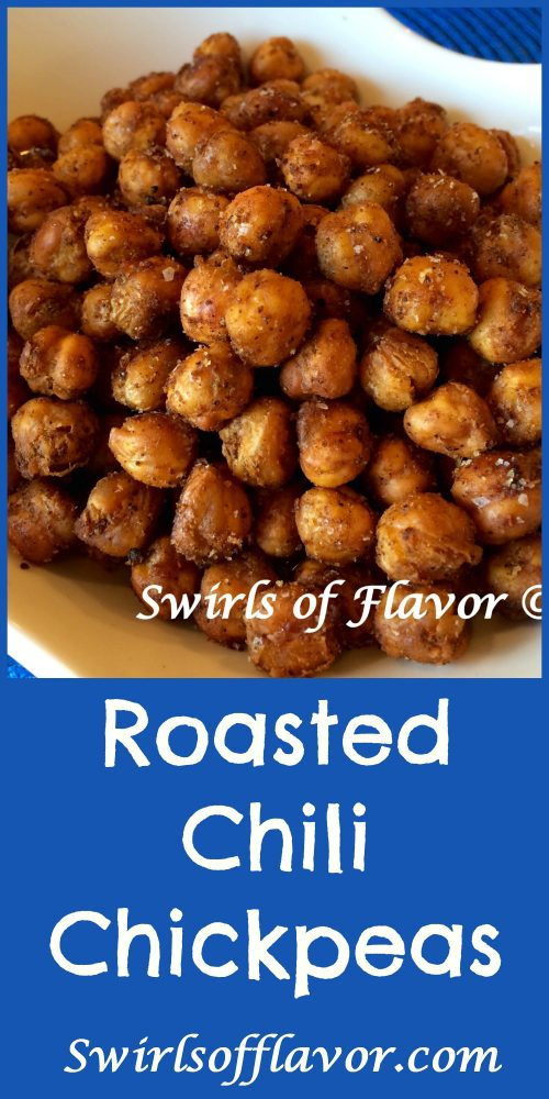 crispy chickpeas in bowlwith text overlay