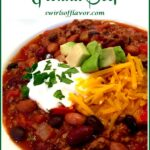 chili with toppings and text overlay