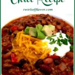 ground beef chili with avocado, cheese and sour cream and text overlay