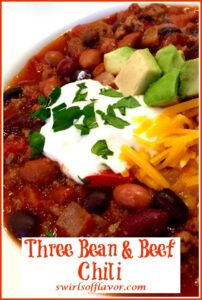 beef chili with three beans and text overlay
