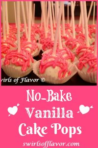 No-Bake Vanilla Cake Pops are a perfect last minute dessert for Valentine's Day or any special occasion. Store bought pound cake, frosting and white chocolate chips combine to make delicious sweet cake pops that you decorate for a delicious impressive dessert.
