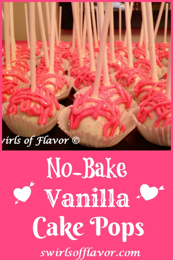 No-Bake Vanilla Cake Pops are a perfect last minute dessert for Valentine's Day or any special occasion. Store bought pound cake, frosting and white chocolate chips combine to make delicious sweet cake pops that you decorate for a delicious impressive dessert. #nobake #nobakedessert #cakepops #vanilla #whitechocolate #poundcake #easyrecipe #valentinedessert #valentinesdayrecipe #swirlsofflavor