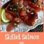 Salmon with salsa and text overlay