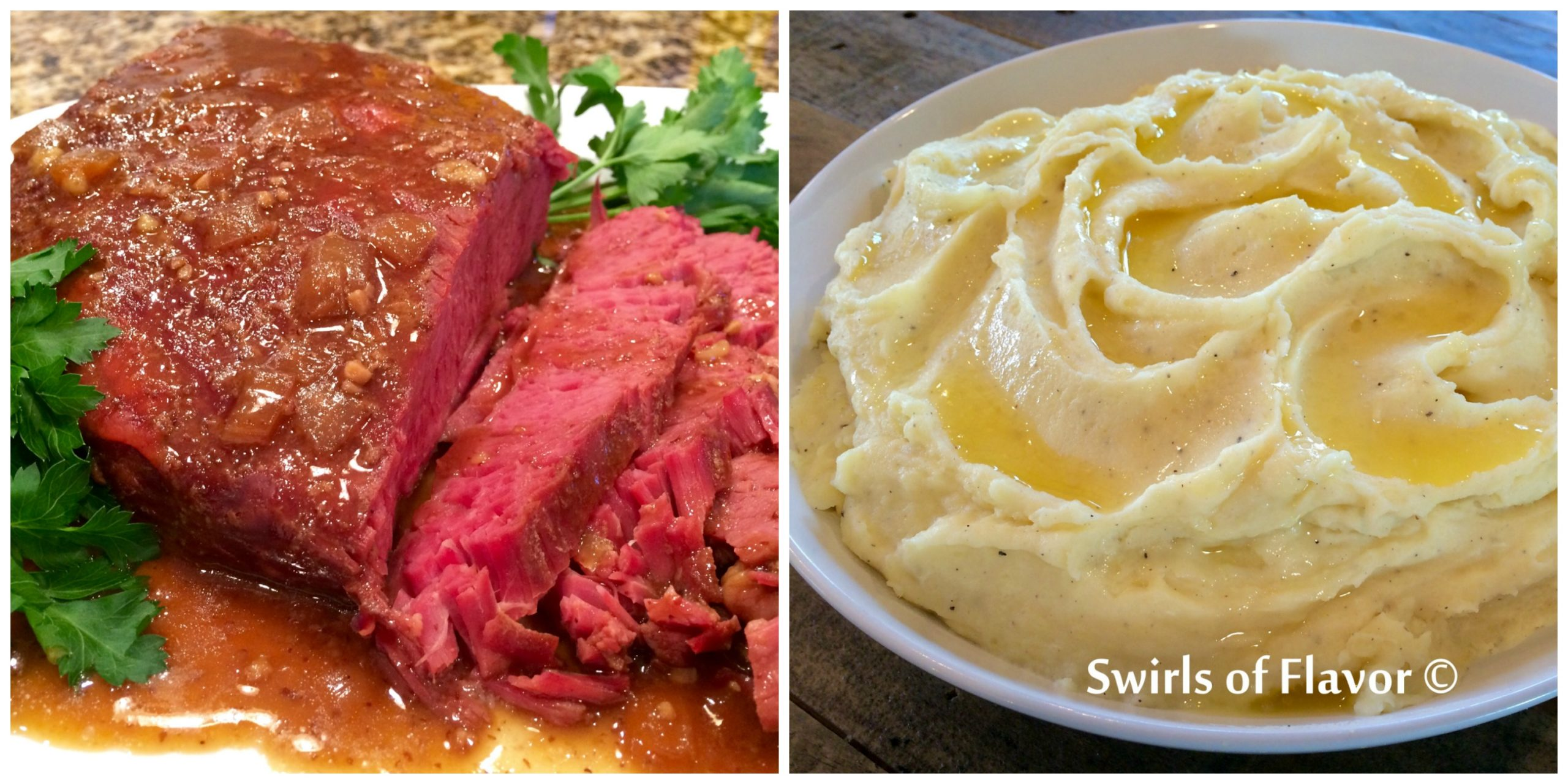 Slow Cooker Corned Beef and Garlic Mashed Potatoes