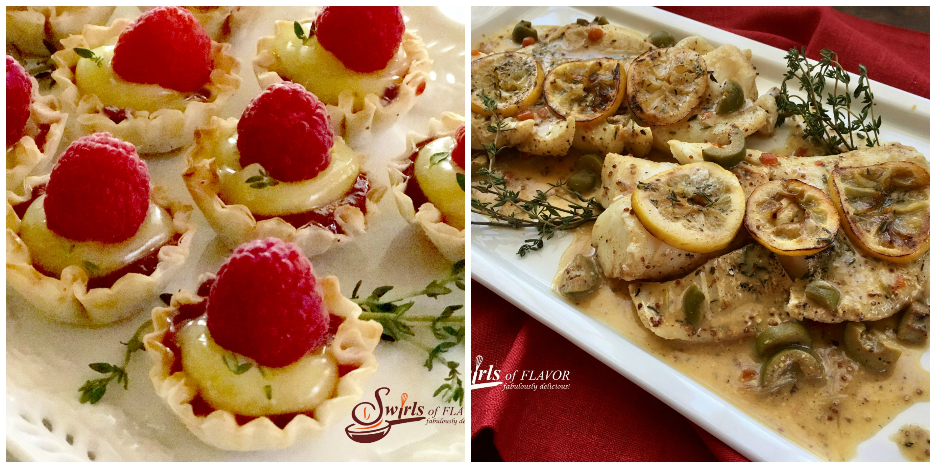 Raspberry Lemon Tartlets and Dijon Cod Saute