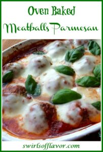 meatbals with cheese and sauce in baking dish with text overlay