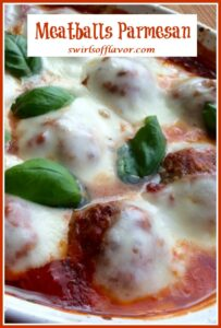 baked meatballs with fresh basil and cheese and text overlay