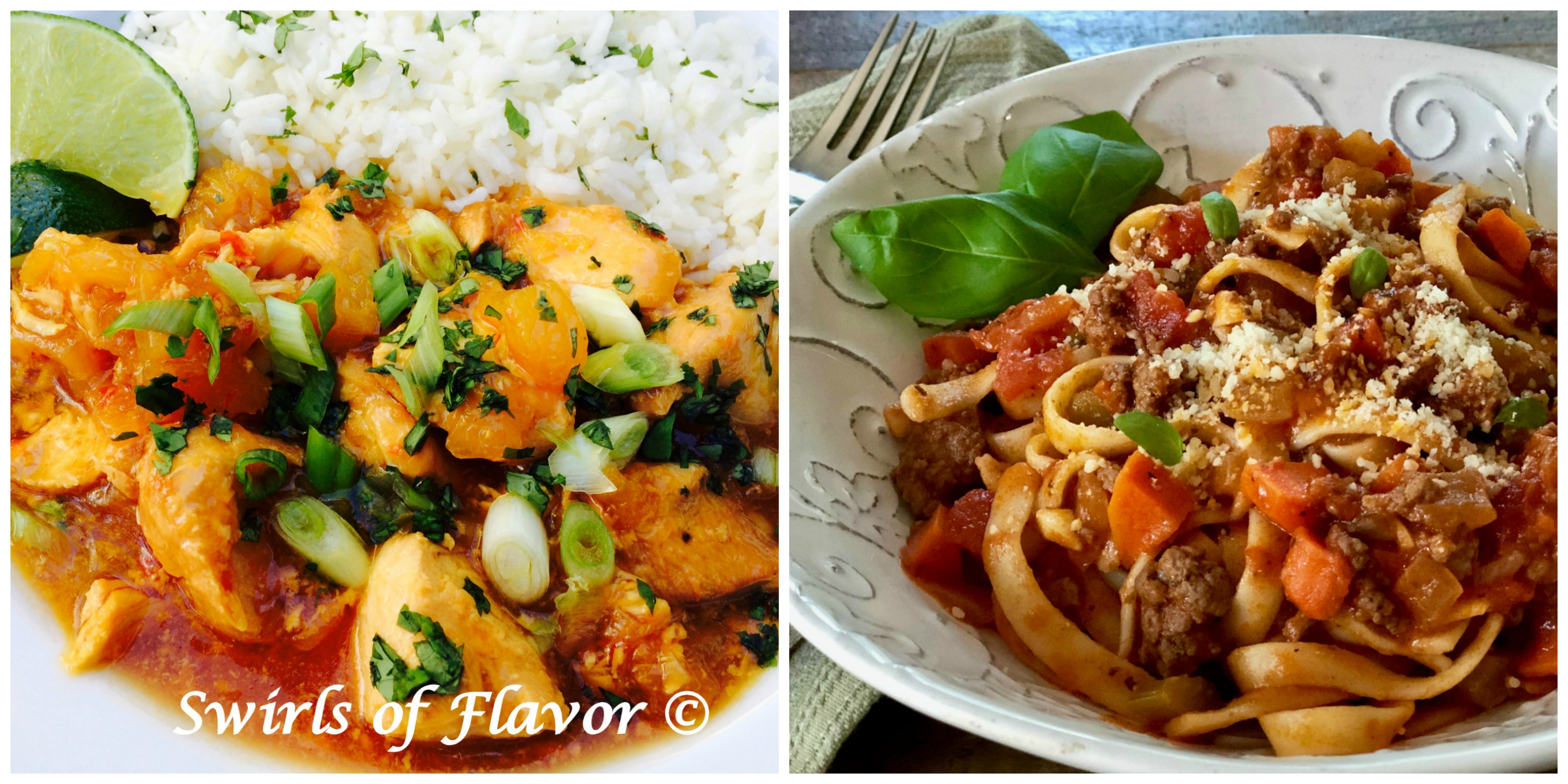 Pineapple Chili Chicken and Fettuccine Bolognese