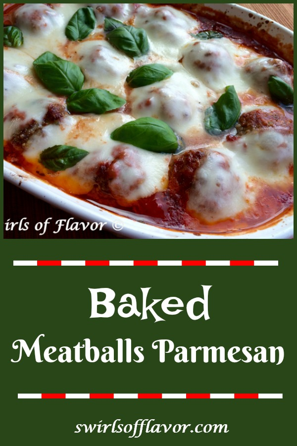 Baked Meatballs Parmesan, an easy homemade meatball recipe that's cheesy and saucy, will warm you up at dinner tonight! Just shape our homemade beef mixture into meatballs, smother with sauce and let them bake themselves in the oven. #meatballs #homemademeatballs #meatballsparmesan #easyrecipe #dinner #ovenbakedmeatballs #casserole #swirlsofflavor