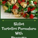 pasta with tomatoes, basil and pancetta and text overlay