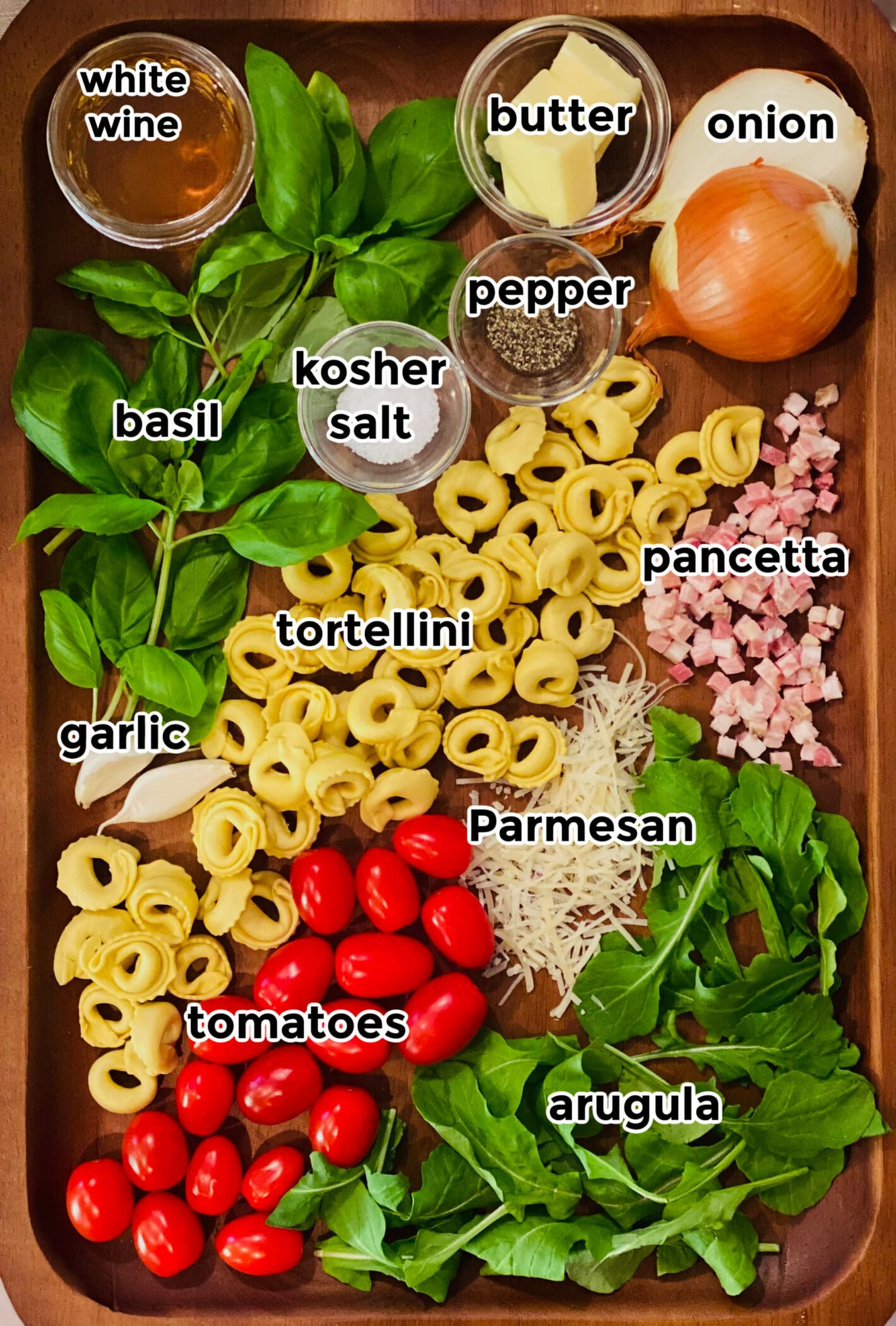 ingredients to make pasta with pancetta