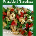pasta with pancetta and tomatoes and text overlay