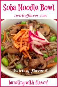 soba noodle bowl with text overlay
