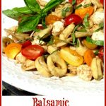 summer pasta salad with text overlay