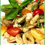 balsamic pasta salad with text overlay