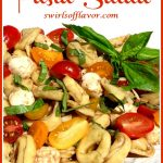 pasta salad with text overlay