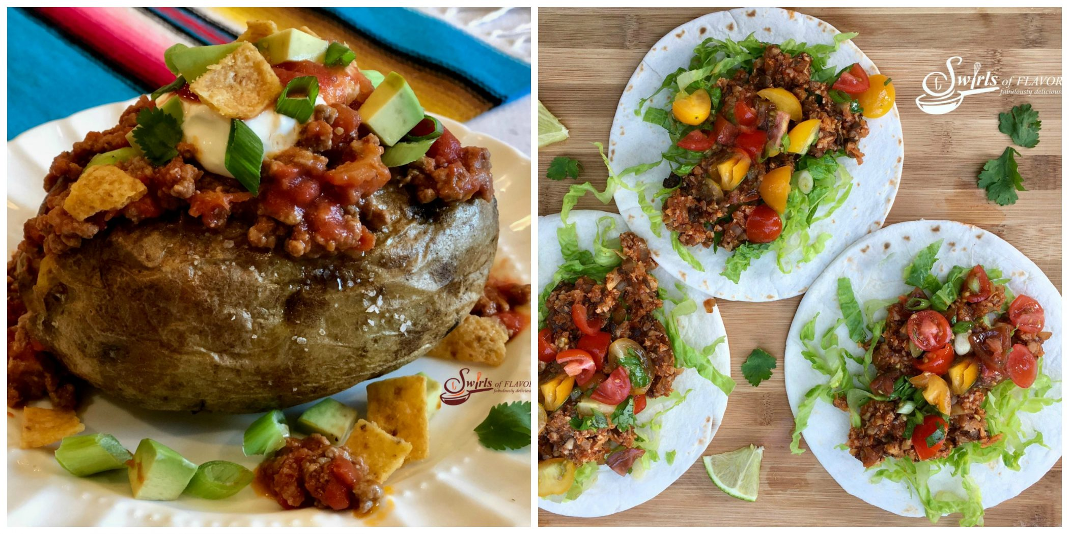 Taco Stuffed Potatoes and Cauliflower Tacos