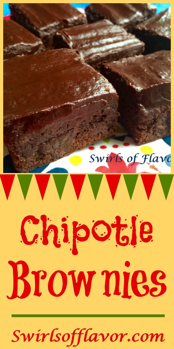 With a creamy chocolate ganache on top and a hint of spice inside Chipotle Brownies will be the grand finale at your Cinco de Mayo fiesta! homemade brownies | easy recipe | cinco de Mayo | dessert | chipotle | ganache | #swirlsofflavor | party