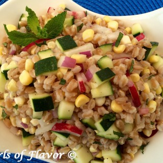 Fresh vegetables are tossed together with farro in a lime scented dressing making Zucchini & Corn Farro Salad a refreshing and nutritious easy summer side dish recipe. easy recipe