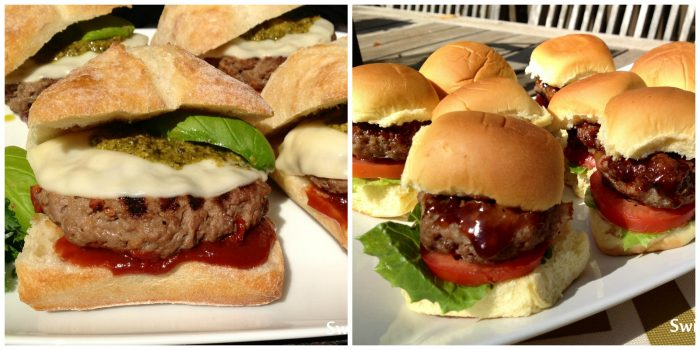 Pesto Provolone Burgers and Bourbon Bacon Sliders