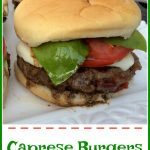 Caprese Burgers are seasoned with bits of sundried tomatoes and topped with melted fresh mozzarella, sliced tomato, fresh basil leaves and a balsamic drizzle!