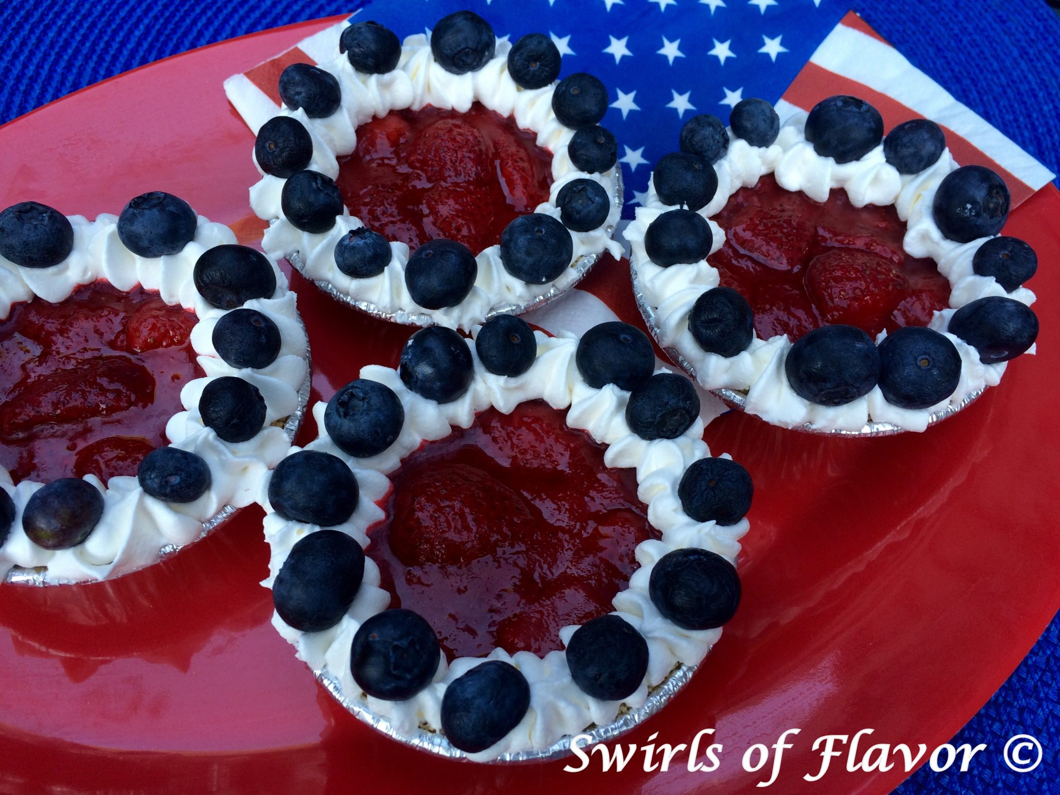 Berry Pies with red white and blue napkin