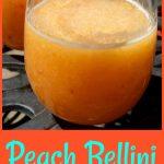 Frozen peaches, Peach Schnapps and Prosecco whirl up into a fabulously delicious Peach Bellini Slushy!