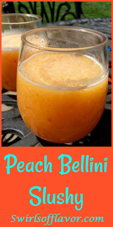 Say hello to the year of the wine slushy! Frozen peaches, Peach Schnapps and Prosecco whirl up into a fabulously delicious Peach Bellini Slushy! wine | wine slushy | prosecco | peach | bellini | frozen drinks | #swirlsofflavor