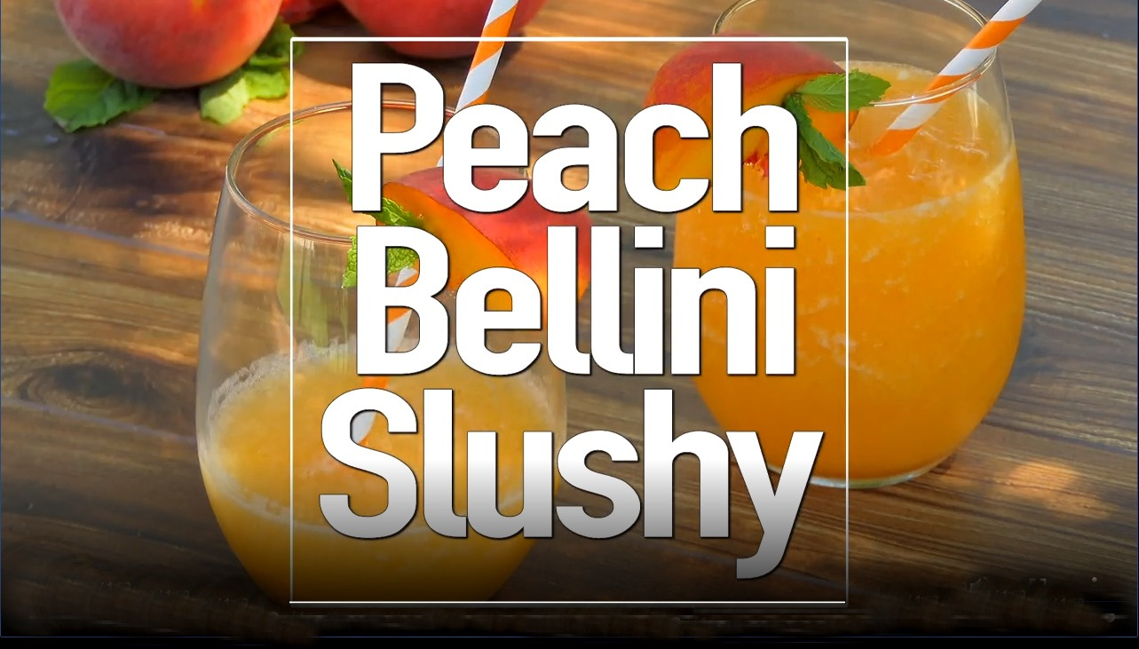 two servings of frozen peach bellini cocktail with text overlay