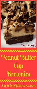 Peanut Butter Cup Brownies is an easy recipe for homemade brownies that combine a fudgy brownie with peanut butter cup candy topped with a decadent homemade peanut butter buttercream frosting!