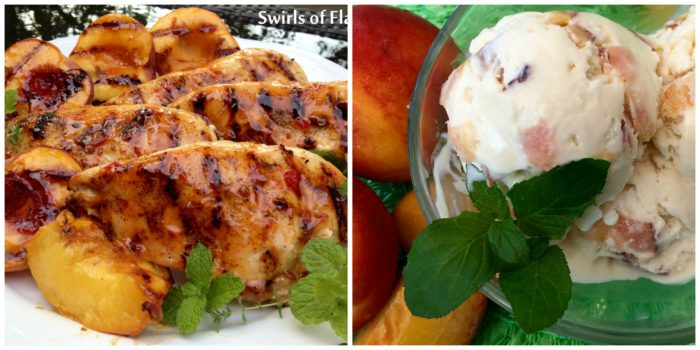 Grilled Peaches and Chicken and Peach Ice Cream