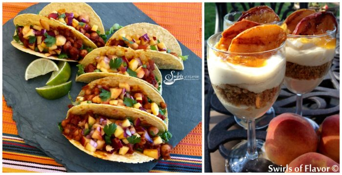 Vegan chickpea Tacos and Grilled Peach Parfaits