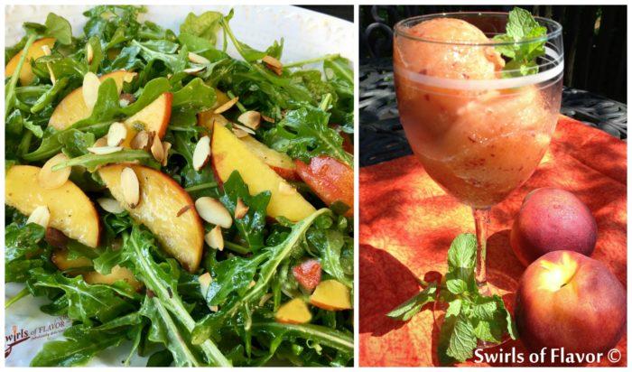 Peach Arugula Salad and Rum Peach Sorbet