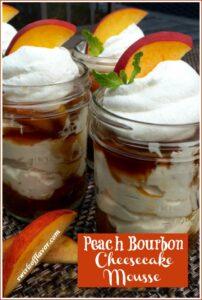 Bourbon Peach Cheesecake Mousse in mason jars