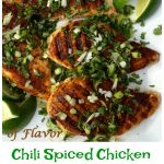 Grilled Chili Spiced Chicken With Cilantro Lime Gremolata will soon become a go-to summertime favorite with it's fresh flavors sprinkled over perfectly seasoned chicken breasts.