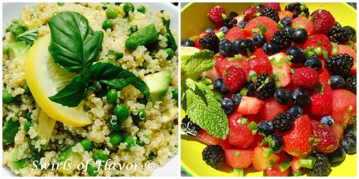 Lemon Avocado Quinoa and Jalapeno Lime Summer Fruit Salad