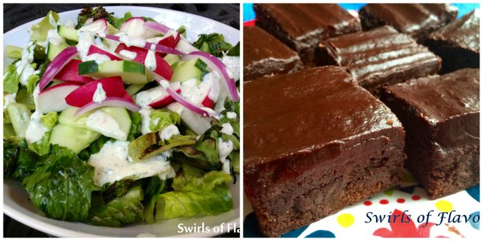 Grilled Romaine Salad and Chipotle Brownies