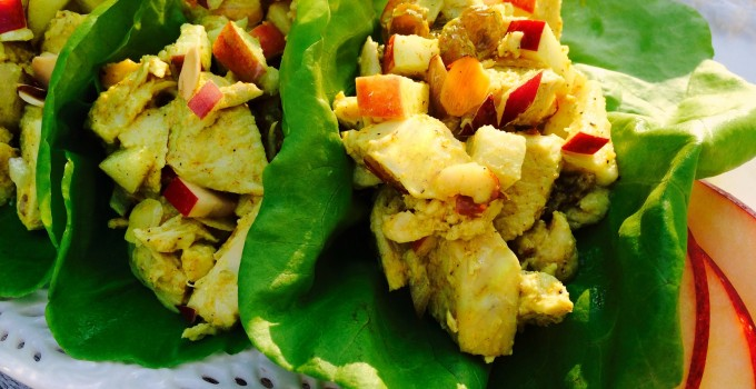 Curried Chicken Salad Lettuce Wraps